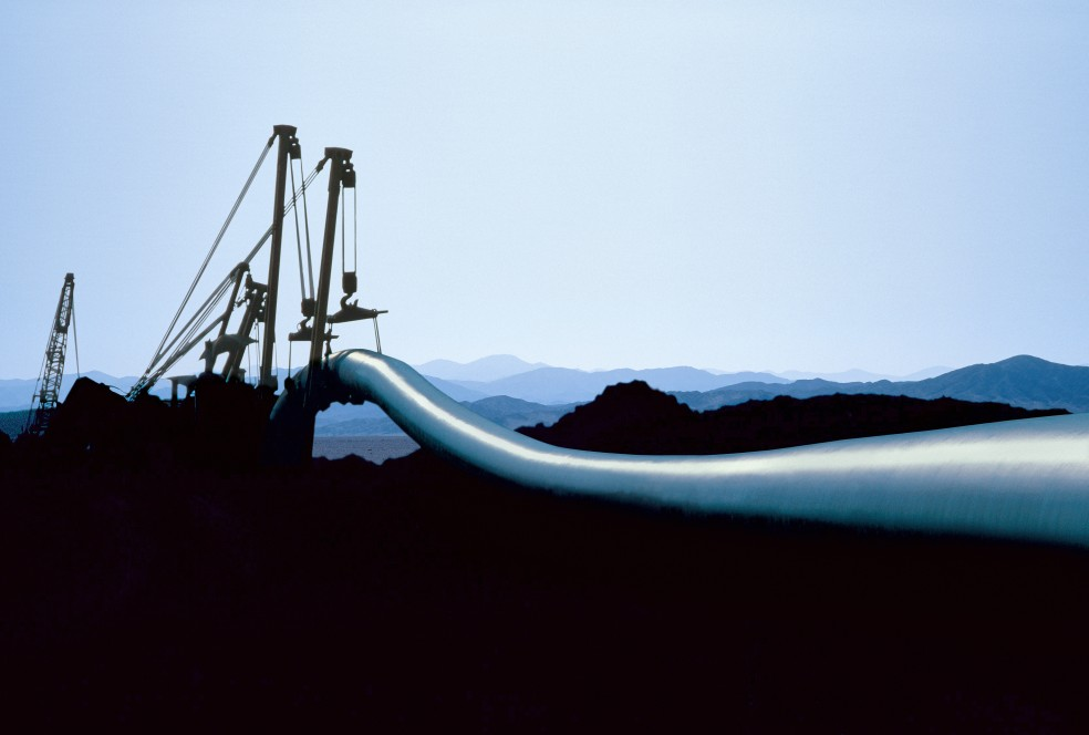View of a natural gas pipeline at night