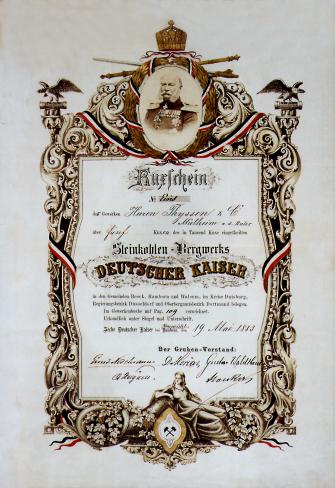 Kuxschein der Gewerkschaft Deutscher Kaiser.