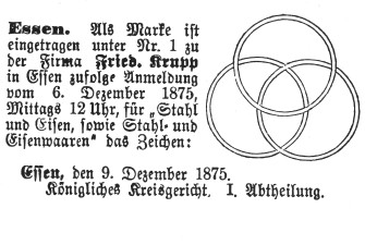 In 1875, Alfred Krupp registered three superimposed seamless railway tires as the company's trademark.