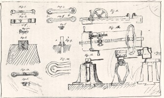 Eigenhändige Zeichnung von Alfred Krupp zur Fertigung des nahtlosen Eisenbahnradreifens, um 1853