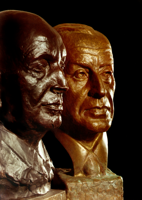Busts of August Thyssen, (1923 by Georg Kolbe) and Fritz Thyssen (1965 posthumously by Gwendolyn Blume).