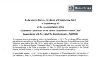 Declaration of Conformity as of October 01, 2012