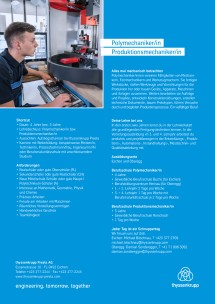 Information about the apprenticeship polymechanic