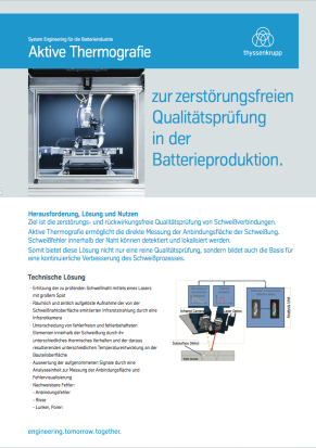 Aktive Thermografie zur zerstörungsfreien Qualitätsprüfung in der Batterieproduktion.