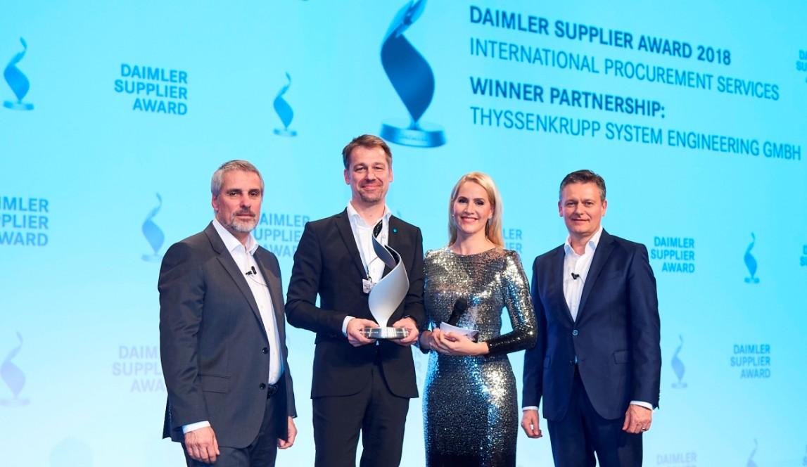 thyssenkrupp receives Daimler Supplier Award 2018 for partnership on battery assembly line
