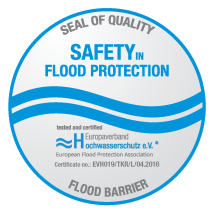 Seal of quality, safety in flood protection, tested and certified, Europaverand Hochwasserschutz e.V., Flood barrier