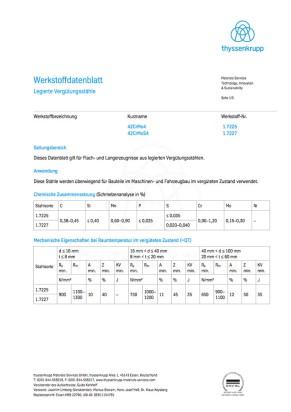 Werkstoffdatenblatt 42CrMo4/42CrMoS4