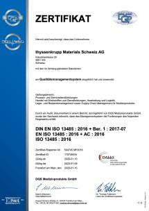 Certificat DIN EN ISO 13485:2016 (allemand)