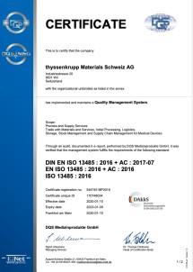Certificat DIN EN ISO 13485:2016 (anglais)