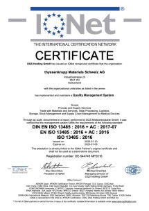 Certificat DIN EN ISO 13485:2016 IQNet (anglais)