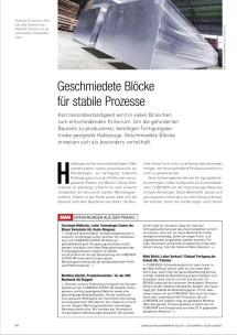 """""""Geschmiedete Blöcke für stabile Prozesse"""" – redaktioneller Beitrag im SMM Schweizer Maschinenmarkt Ausgabe 20/2017 – September 2017"""