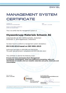 Zertifikat nach EN 9120:2016 (englisch)