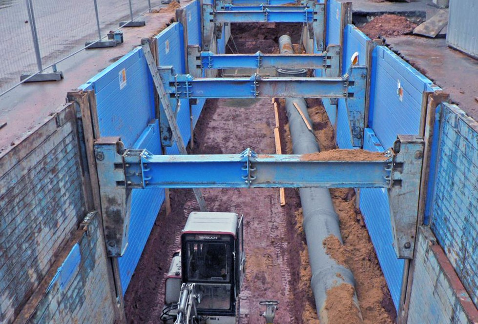 Double slide rail system linear shoring