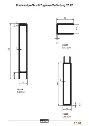 Aluminium Bordwand Profil Systeme