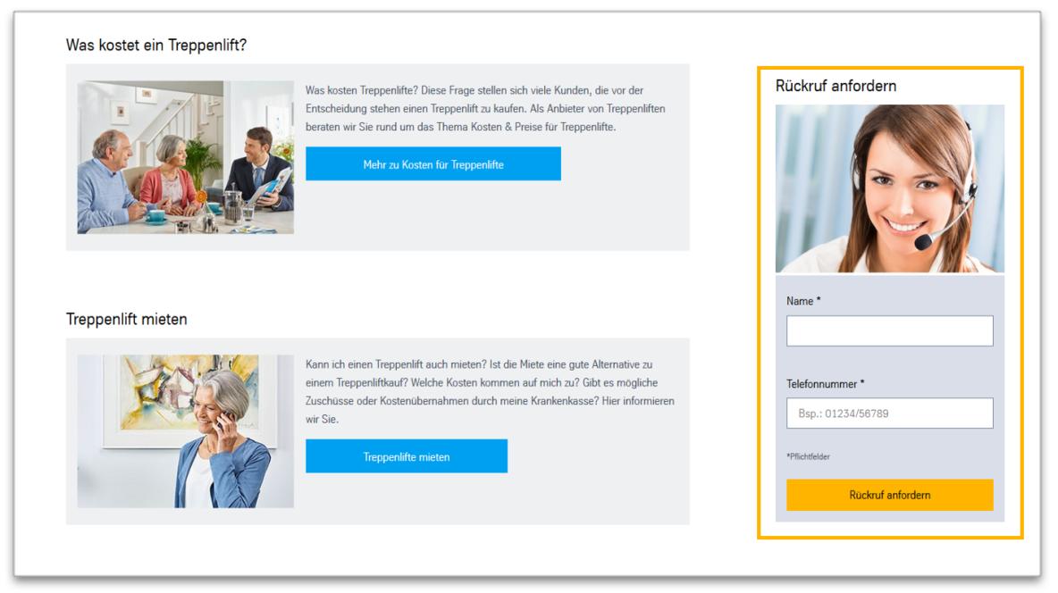 CTA kit Call-back service - Module view