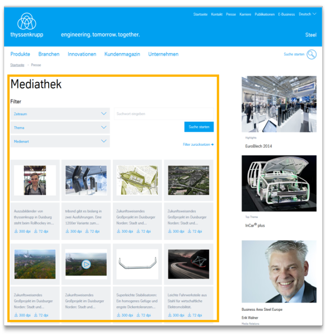 Media Library - Module view
