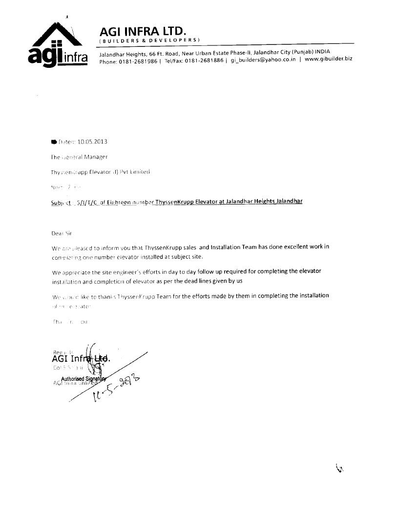 Appreciation Letter AGI Infra Ltd.