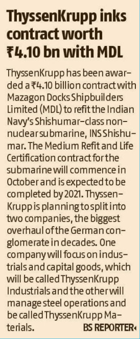 Thyssenkrupp inks contract worth Rs41.0 bn order with MDL