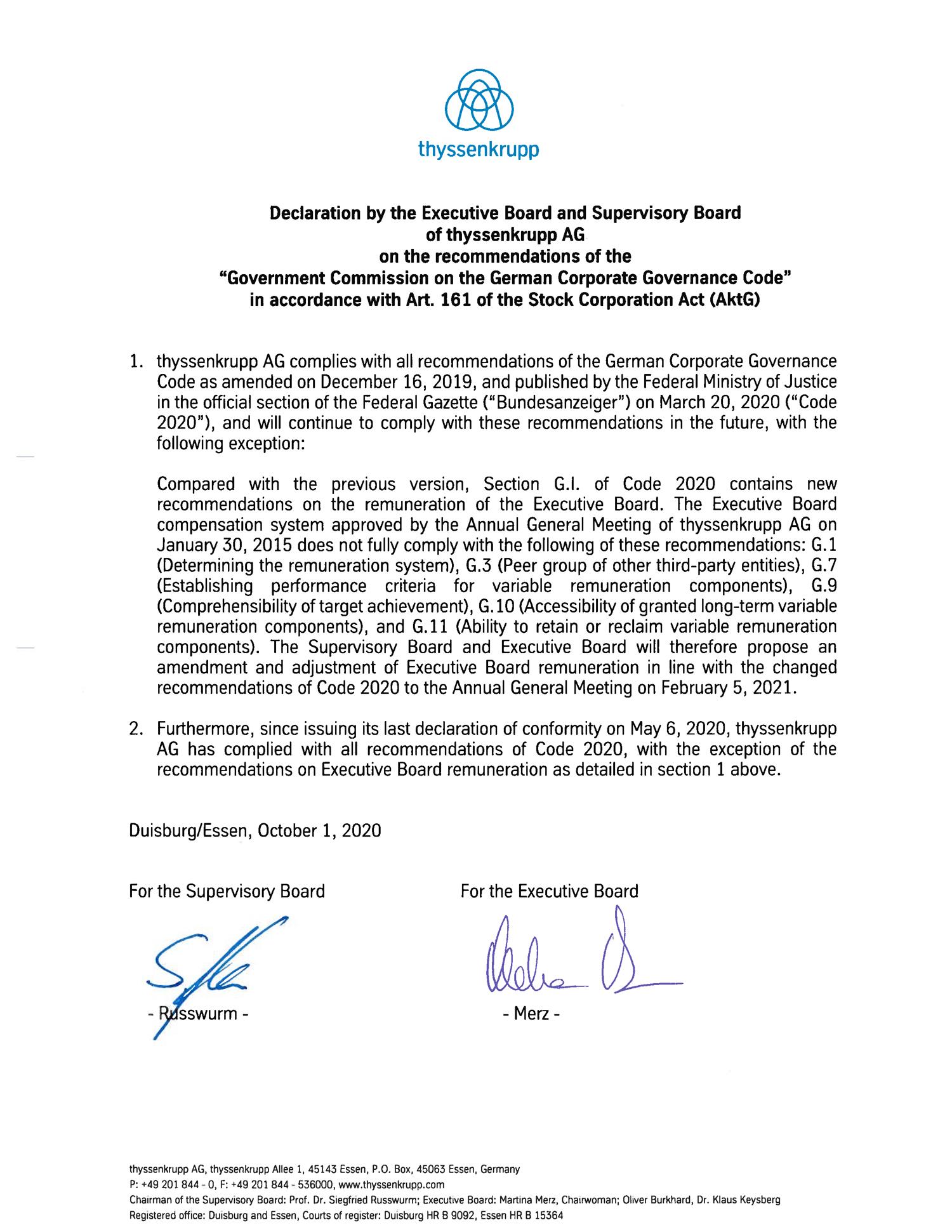 Declaration of conformity as of October 1, 2020