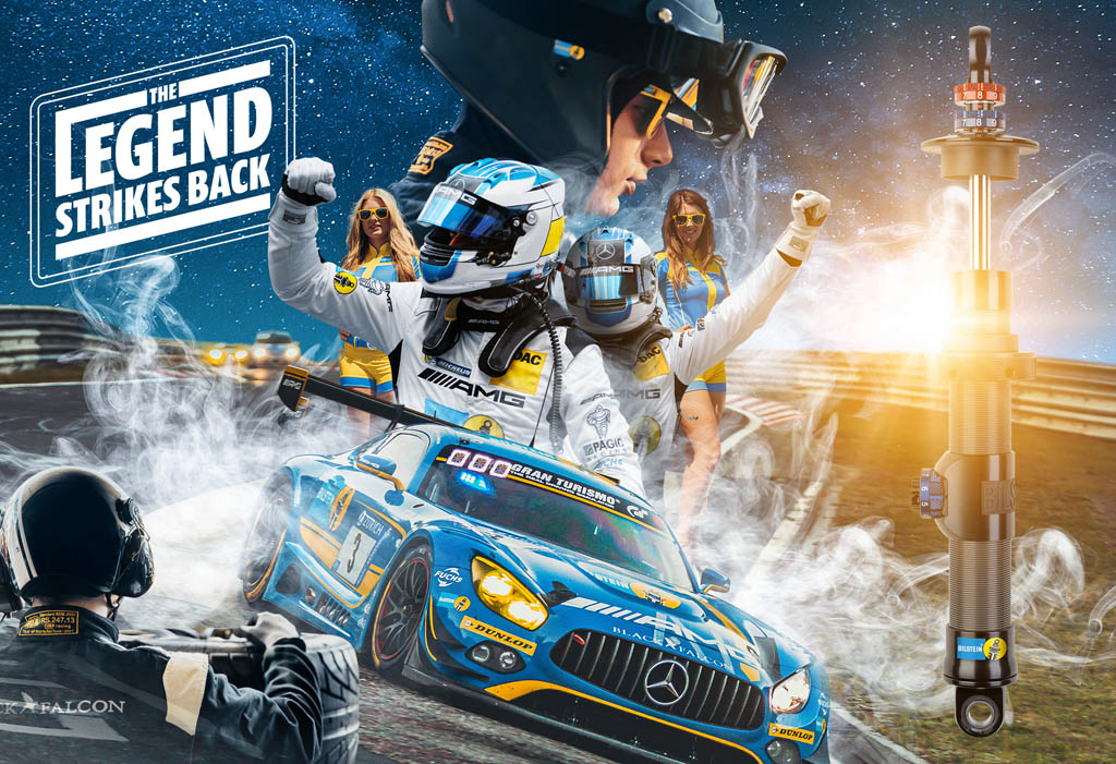 Marketing can be fun: For the 24h race at the Nürburgring, BILSTEIN relies on the charm of its LEGENDS series and shouts out to their competitors: The legend strikes back! Similarities to famous space tales possible…