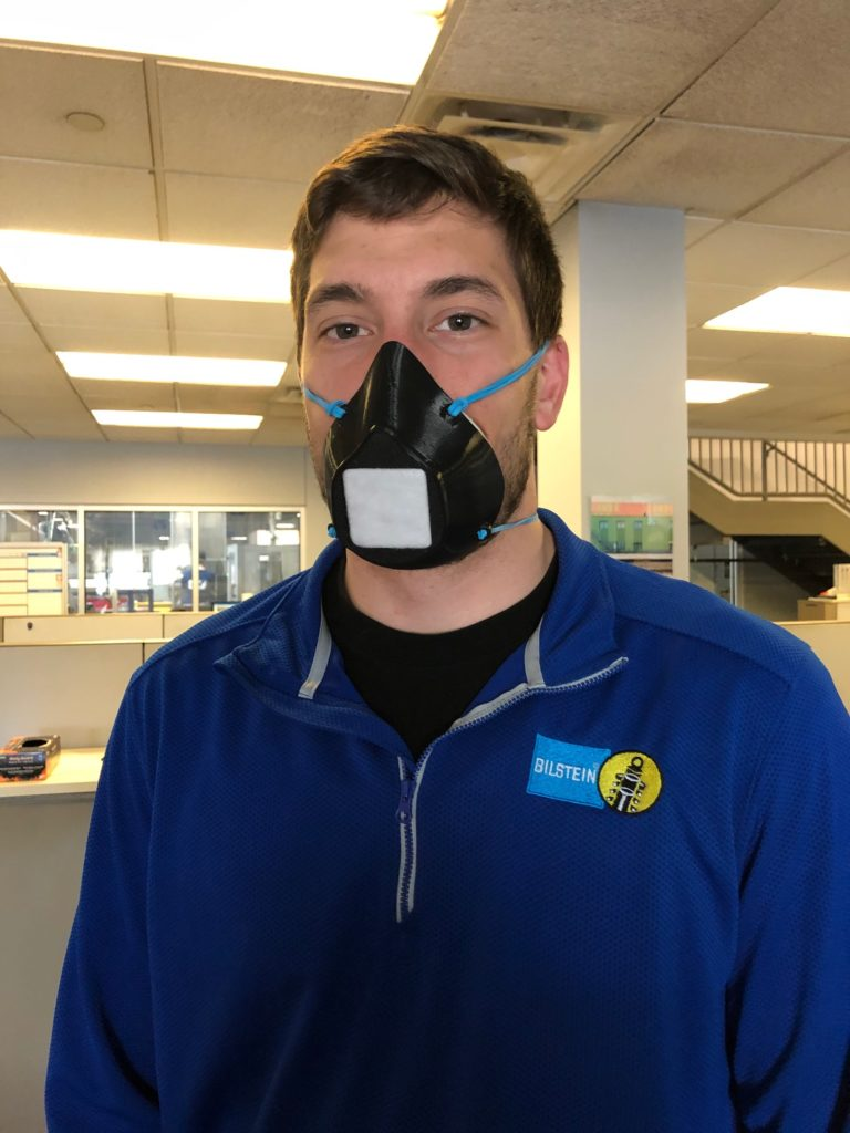 The mask is already worn by the employees.
