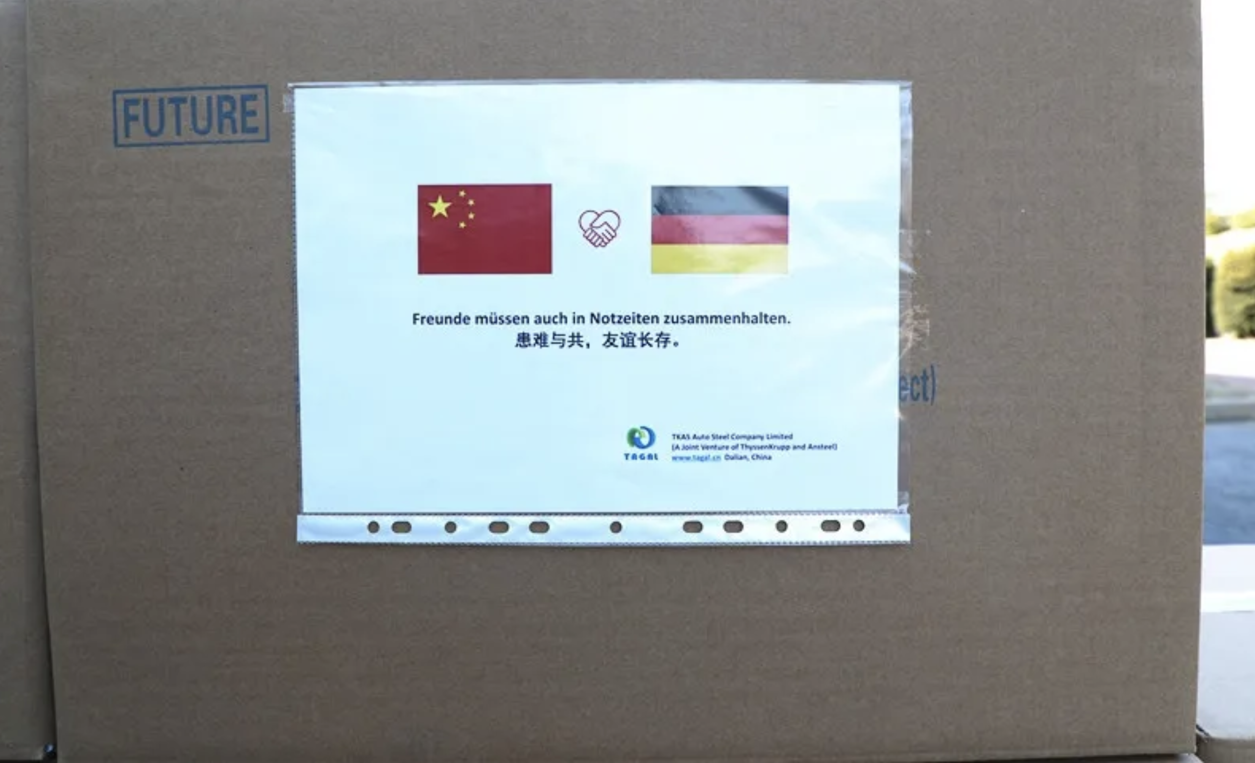 """TAGAL Germany's donation packages reached Germany with the words """"We share good and bad, lasting friendship""""."""