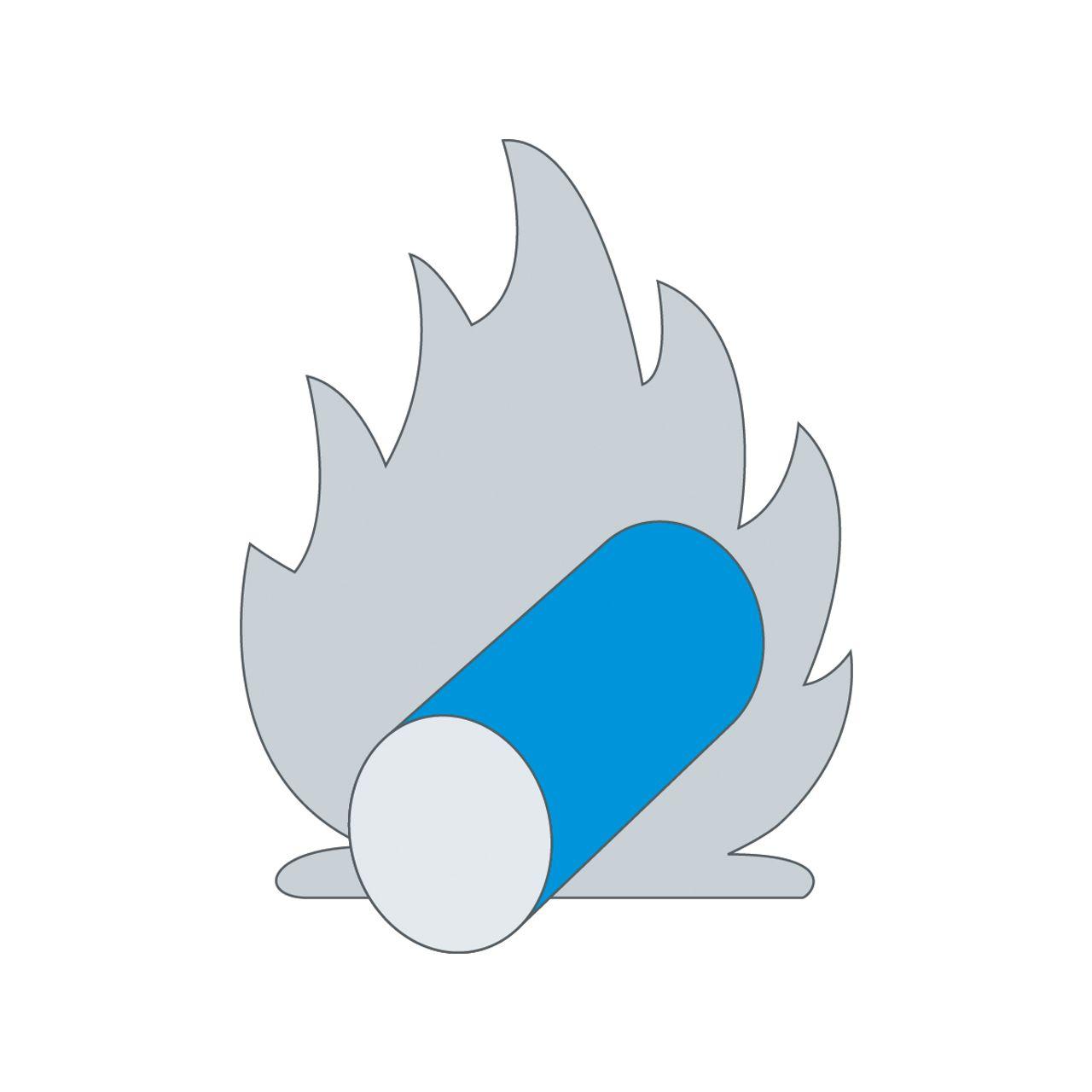Croquis de la matière première qui est chauffée dans une flamme