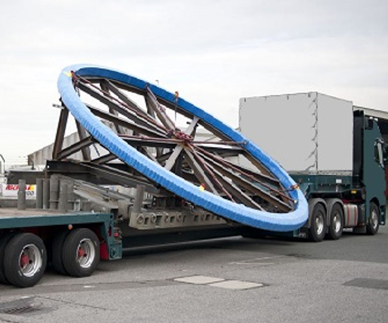One slewing bearing being transported on a transport truck
