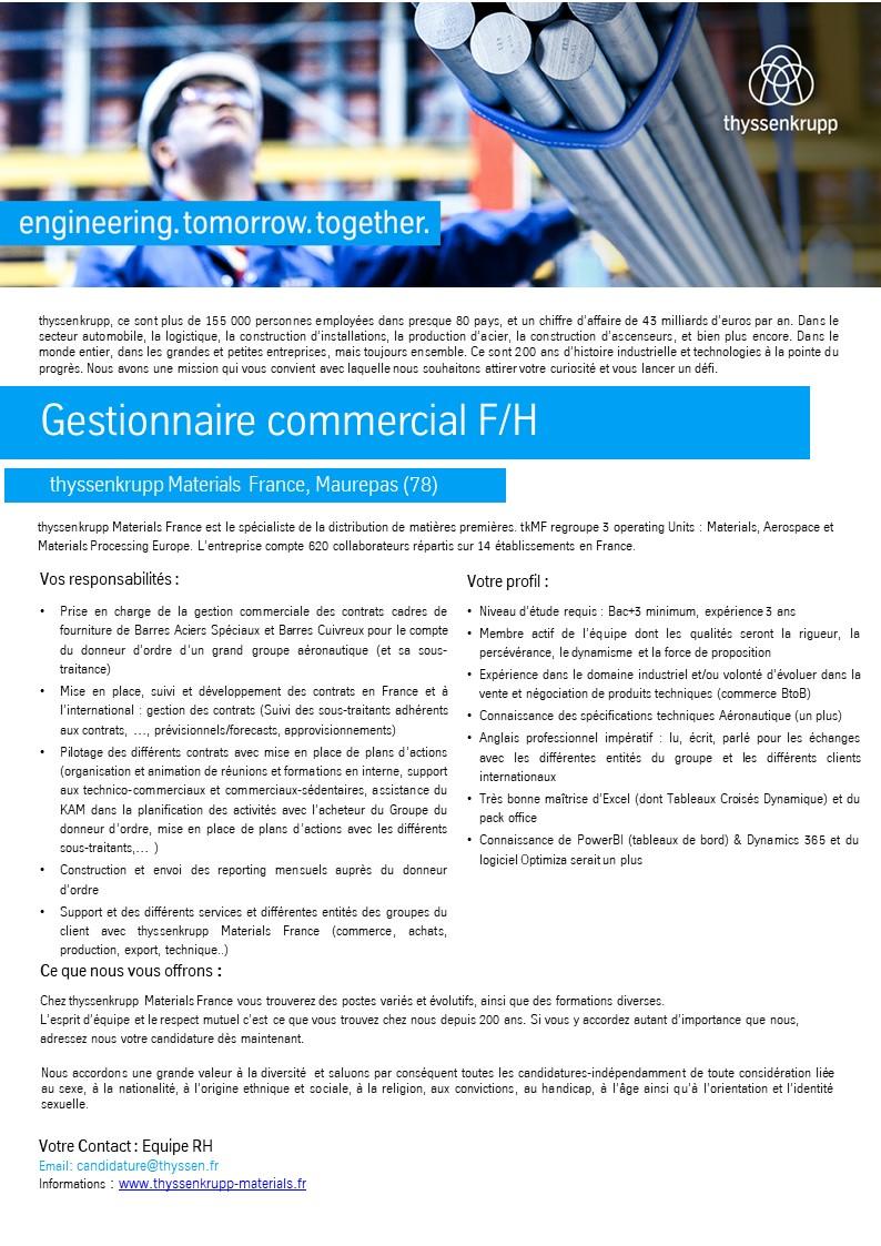 Gestionnaire commercial F/H - Aéro