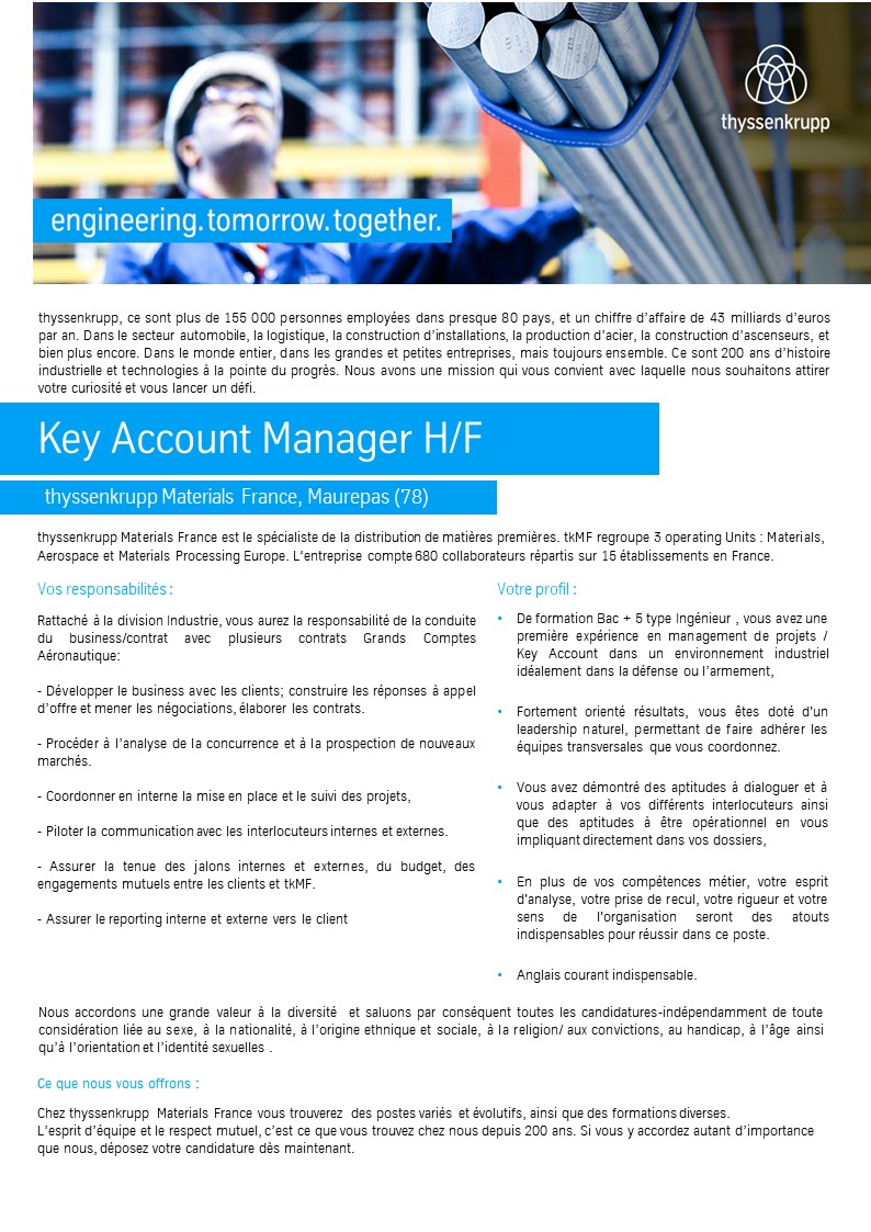 Key Account Manager F/H - Division Industrie