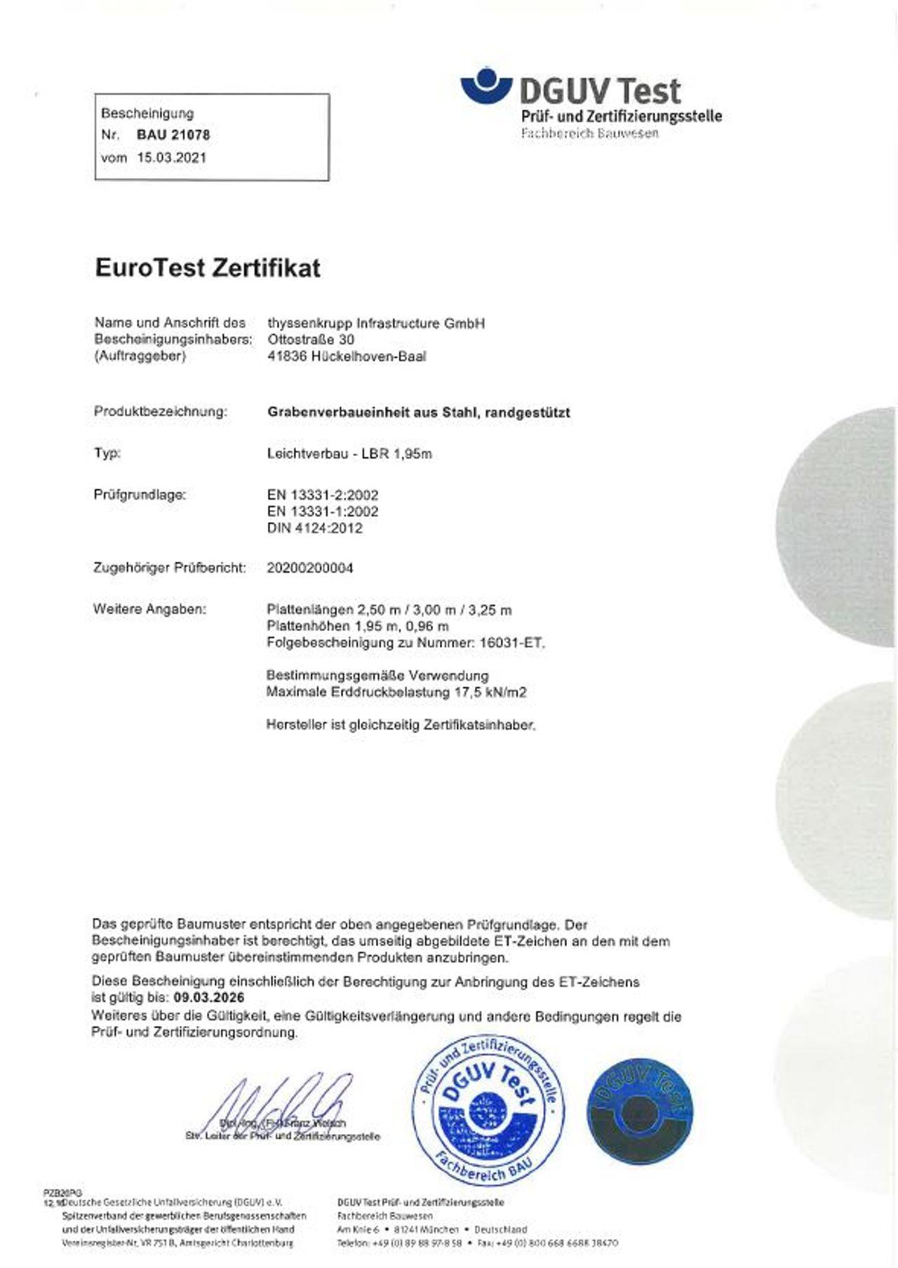 PDF Download EuroTest Zertifikat LBR 1,95 m