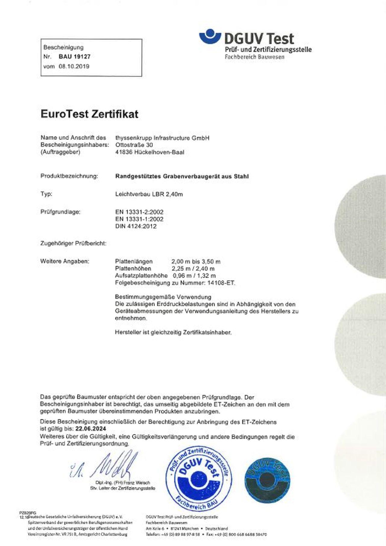 PDF Download EuroTest Zertifikat LBR 2,25-2,40 m