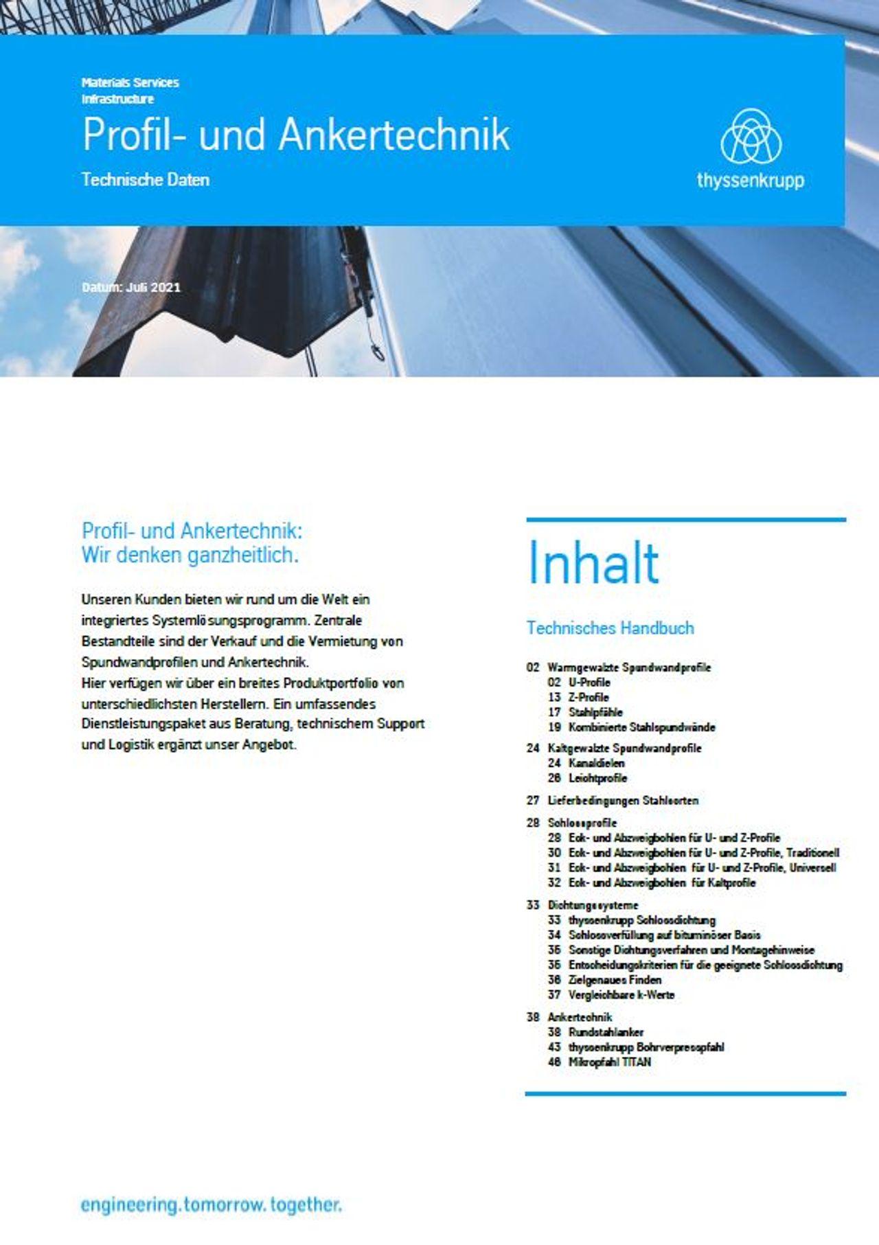 PDF Downloads technische Daten Profil und Ankertechnik
