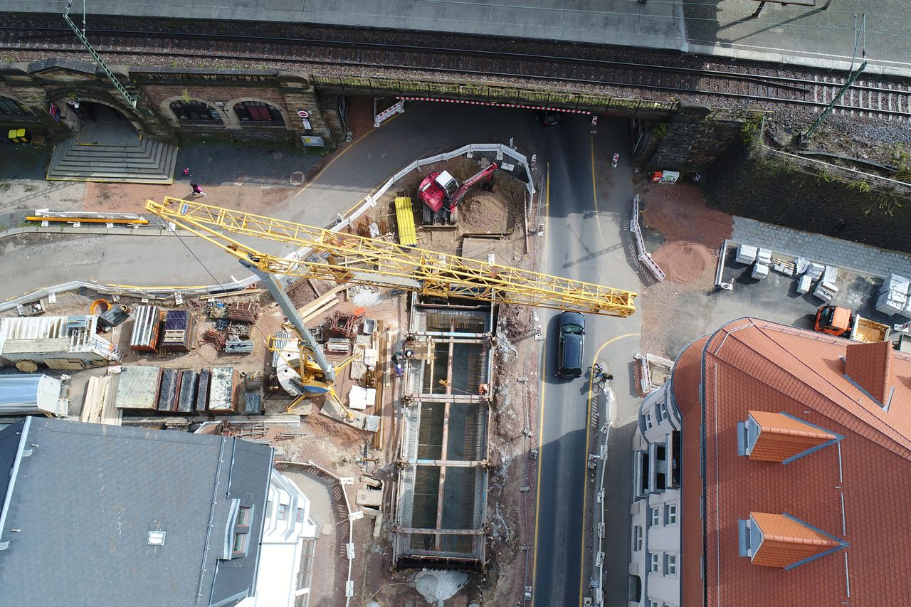 New storm water overflow basin at Chemnitz traffic junction