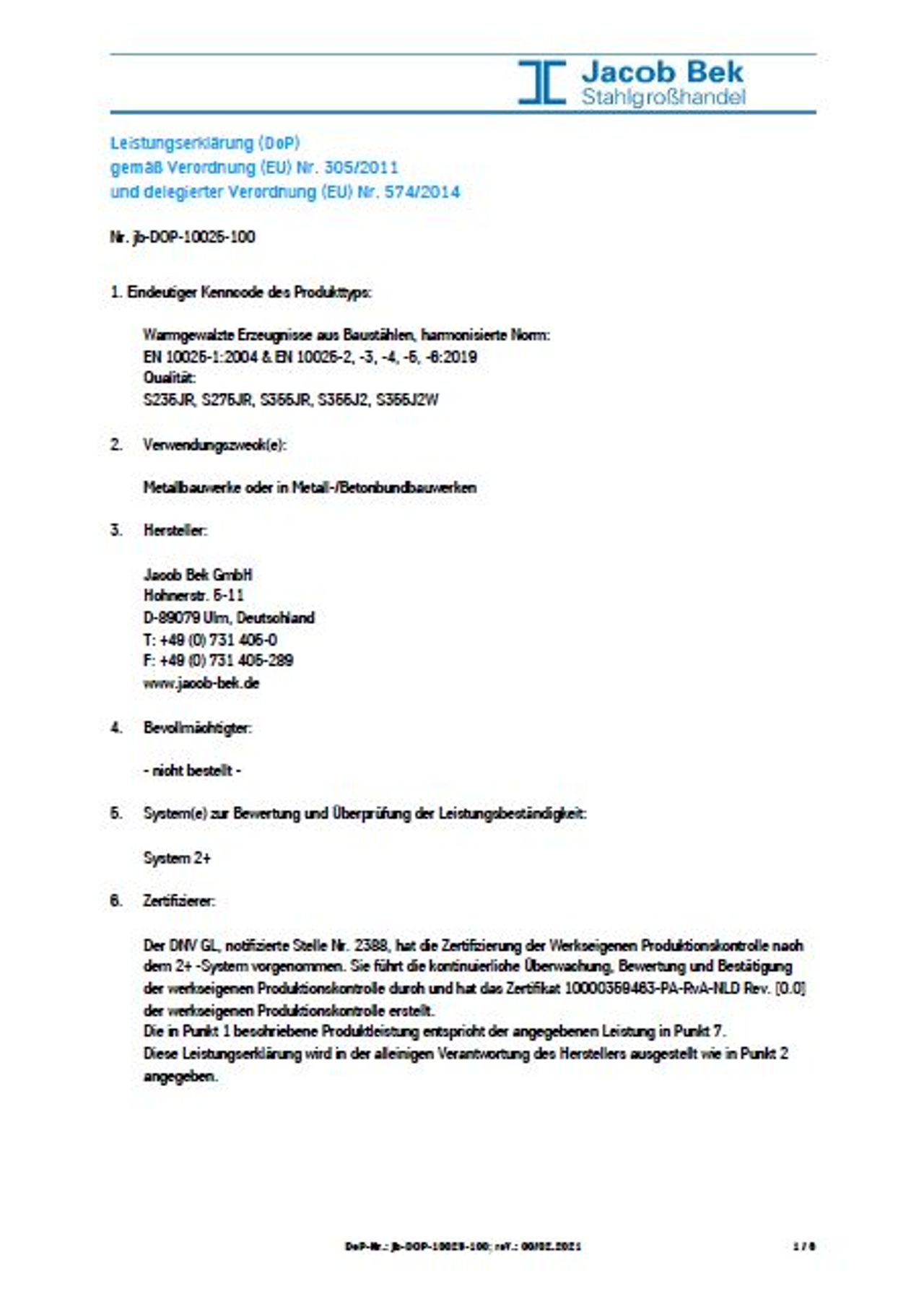 Leistungserklärung, Zertifikat, Jacob Bek