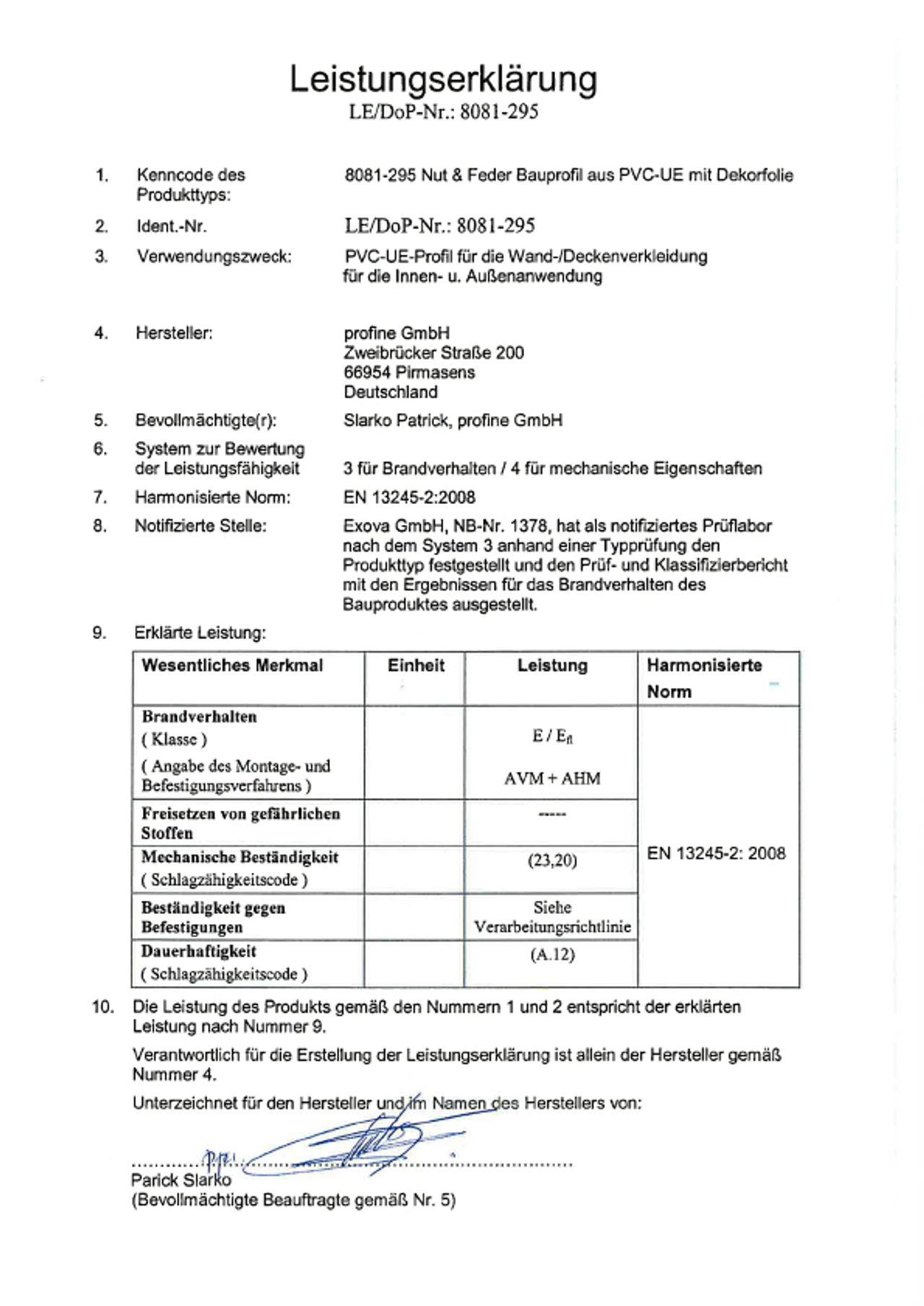 KömaPan® Nut- und Federprofile mit Dekorfolie Leistungserklärung