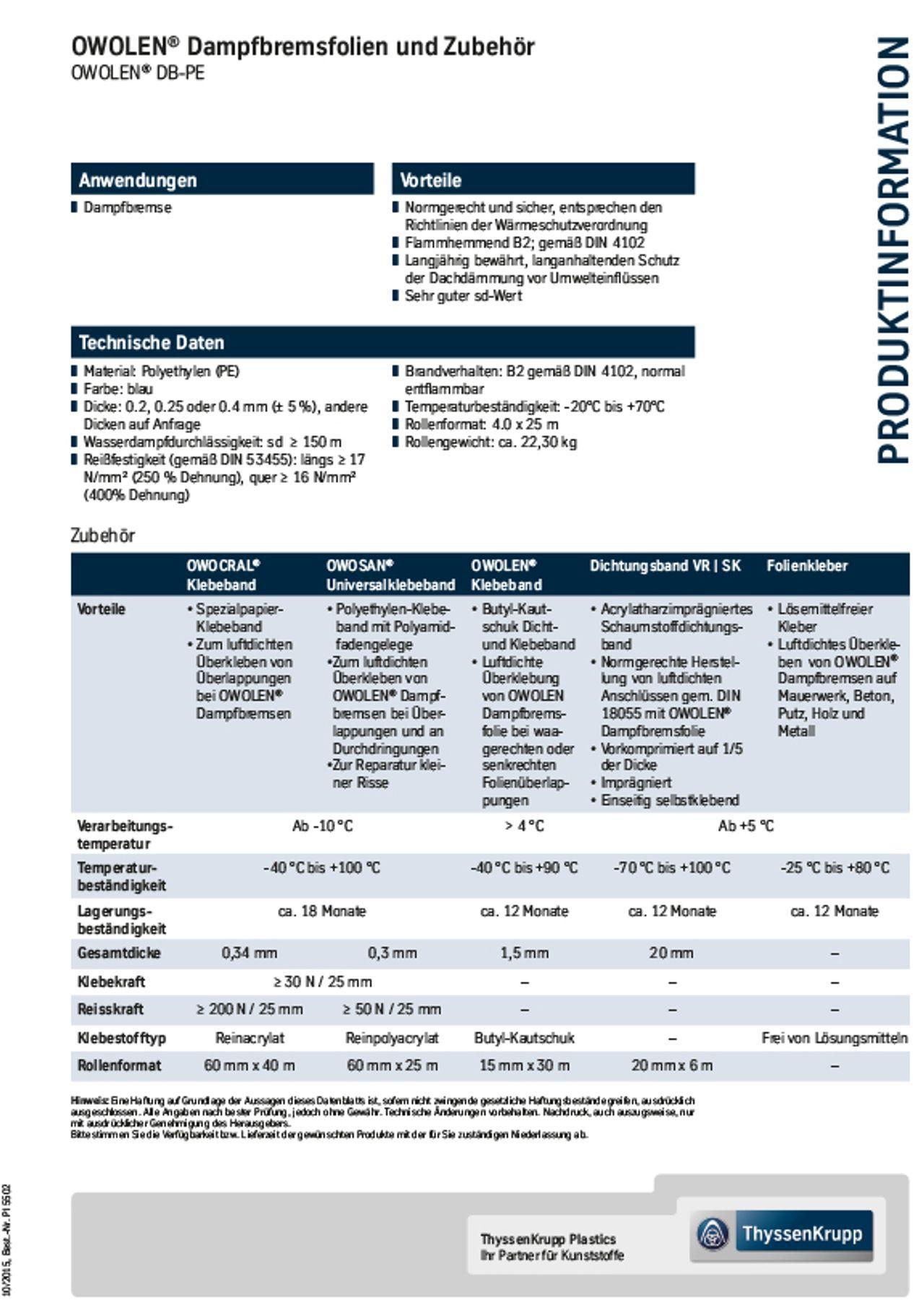 owolen® Dampfbremsfolien und Zubehör Produktinformation