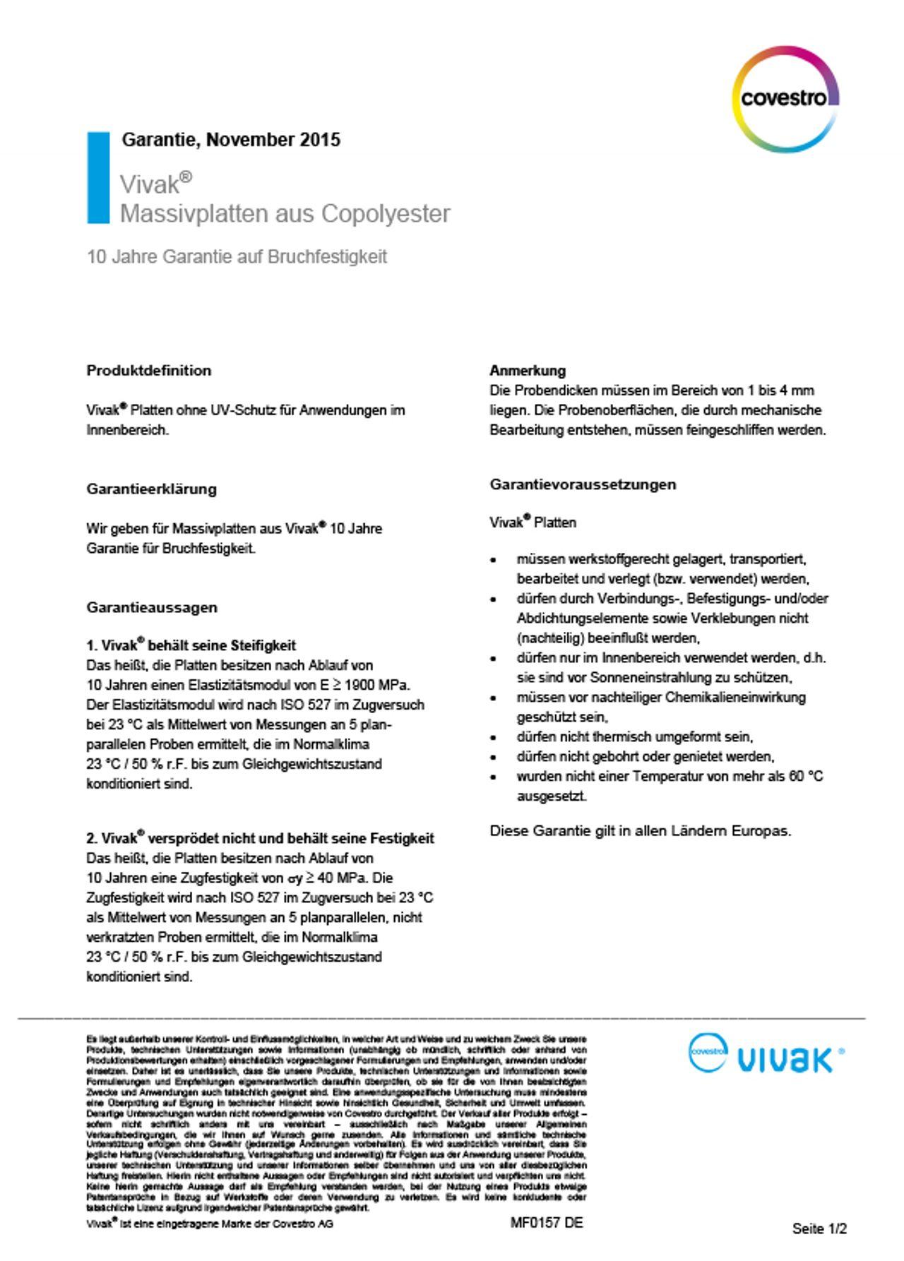 VIVAK® thermoplastische Copolyesterplatten Garantieerklärung