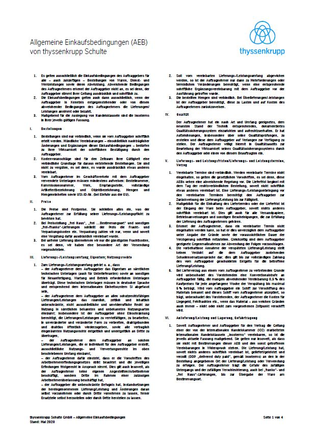 General Terms and Conditions of Purchase of thyssenkrupp Schulte (English)