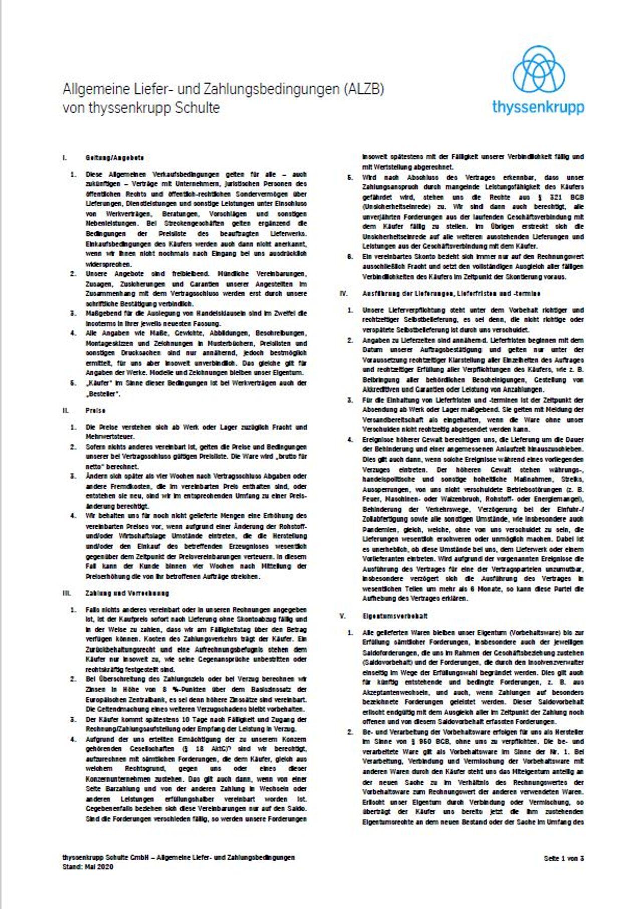 Allgemeine Liefer- und Zahlungsbedingungen (ALZB) von thyssenkrupp Schulte