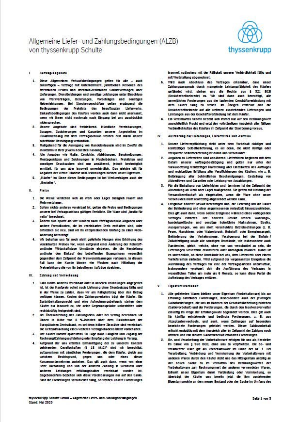 General Terms and Conditions of Delivery and Payment of thyssenkrupp Schulte (English)