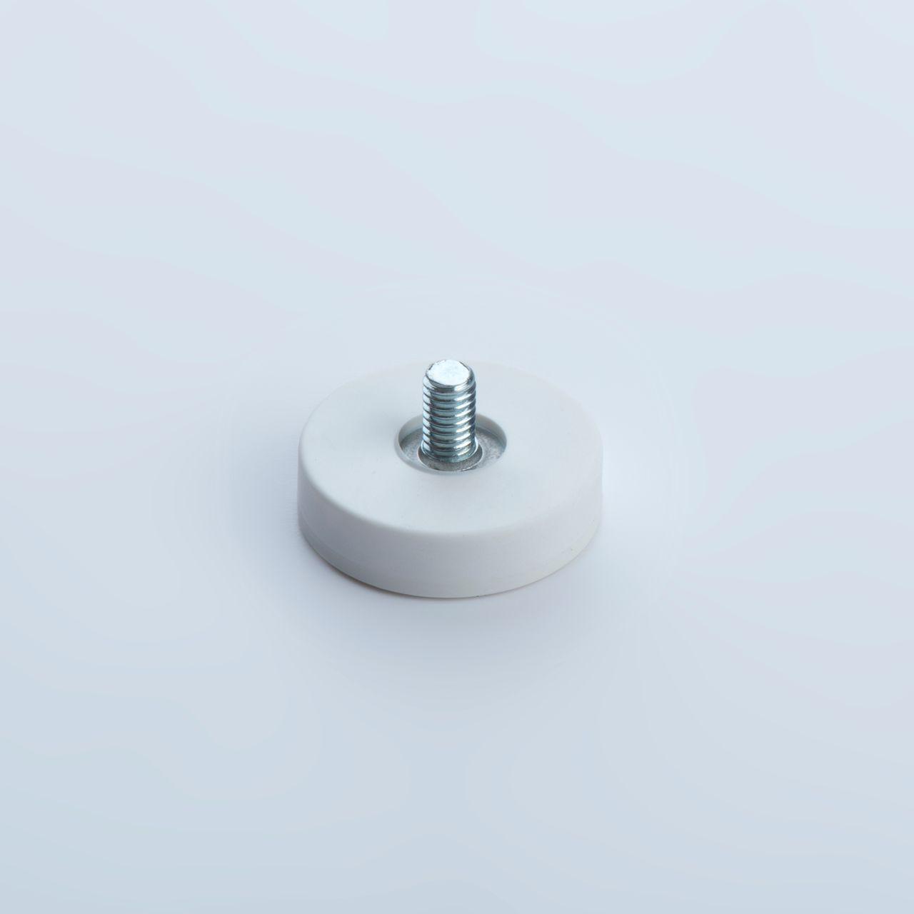 Flachgreifer aus Neodym mit Außengewinde, weiß gummiert, thyssenkrupp Magnettechnik