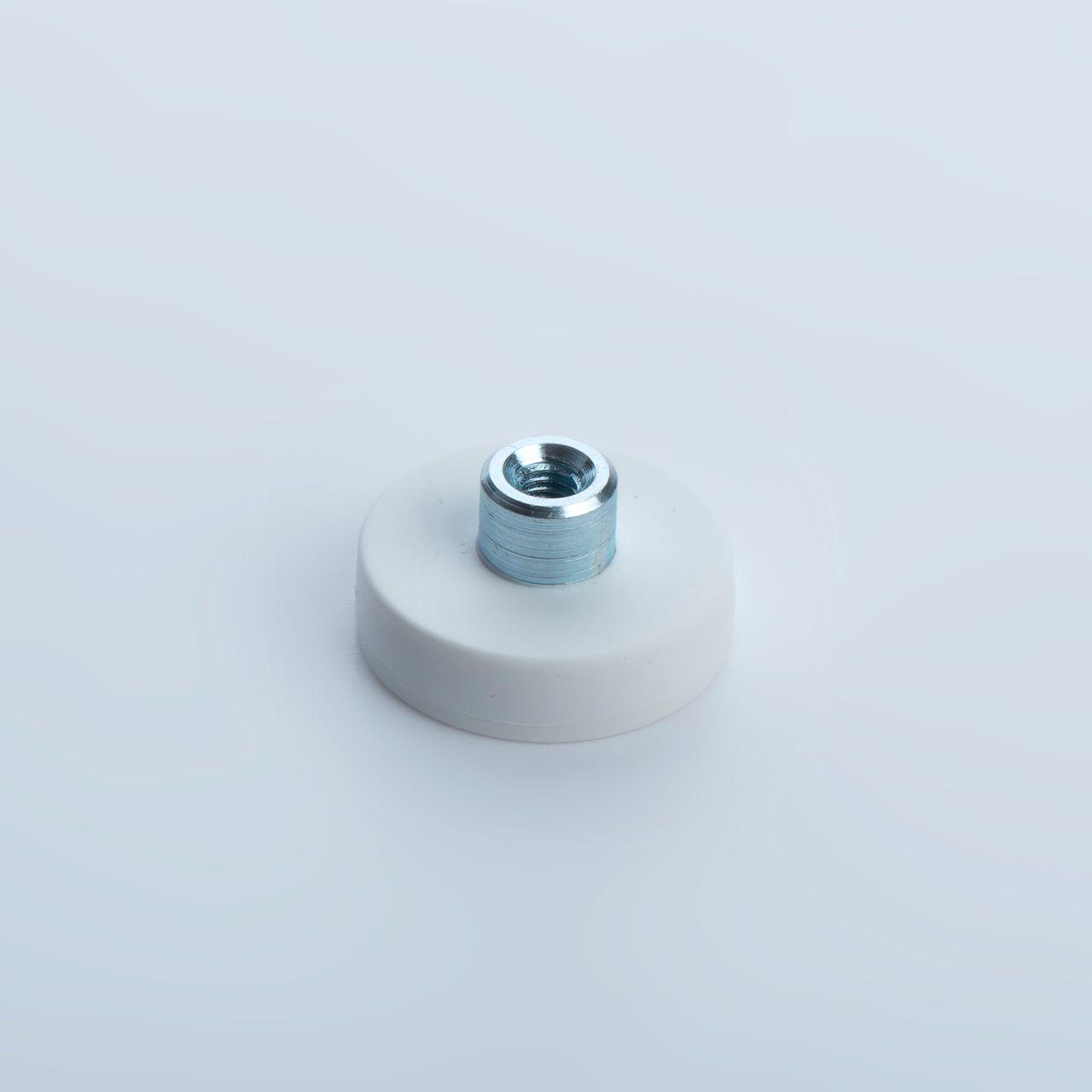 Flachgreifer aus Neodym mit Gewindebuchse, weiß gummiert, thyssenkrupp Magnettechnik