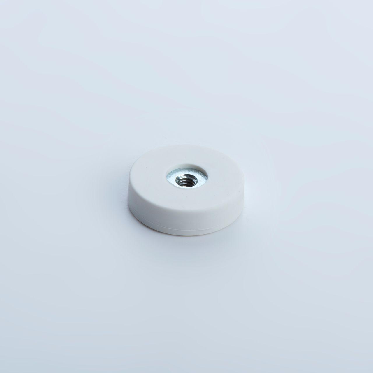 Flachgreifer aus Neodym mit Innengewinde, weiß gummiert, thyssenkrupp Magnettechnik