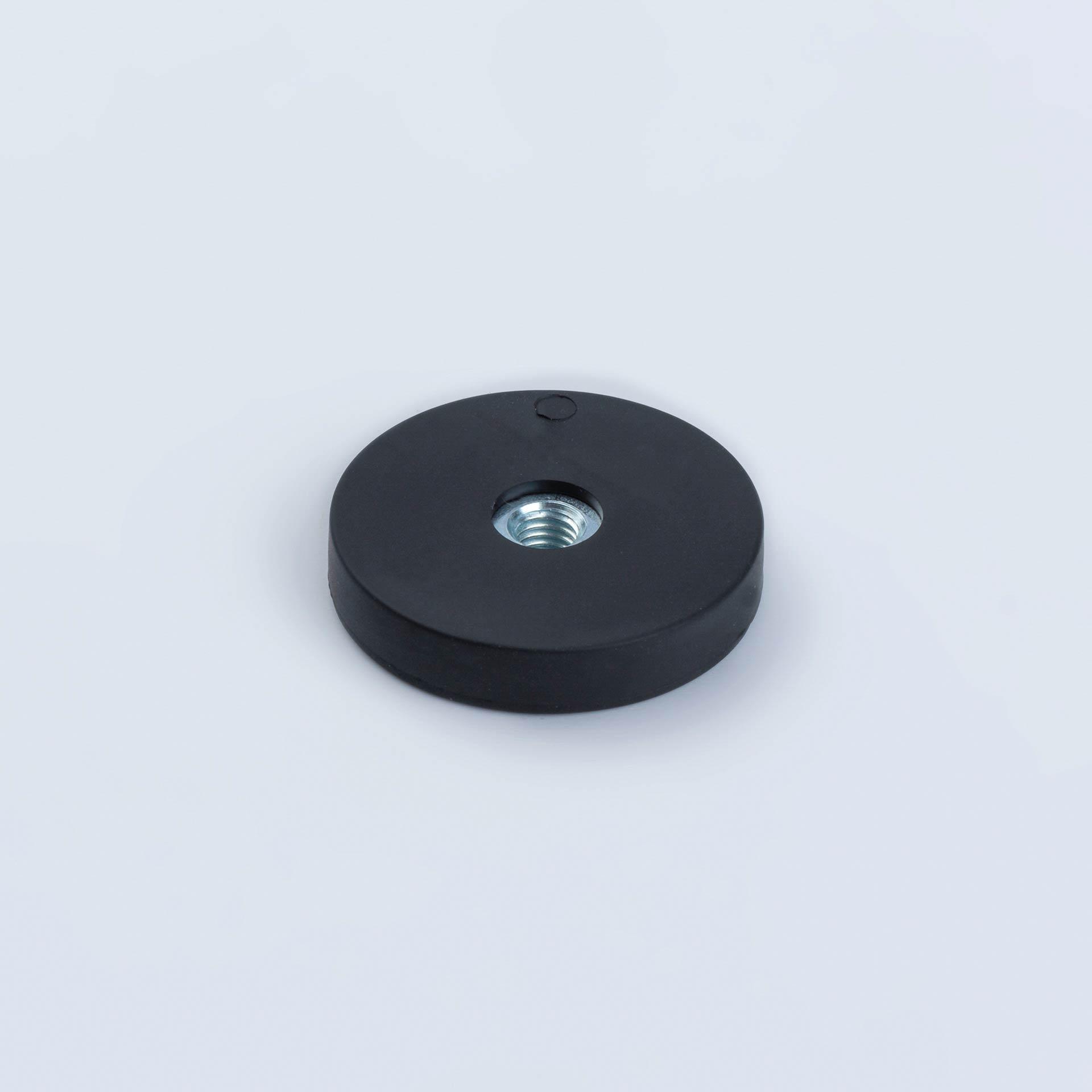 Flachgreifer aus Neodym mit Innengewinde, schwarz gummiert, thyssenkrupp Magnettechnik