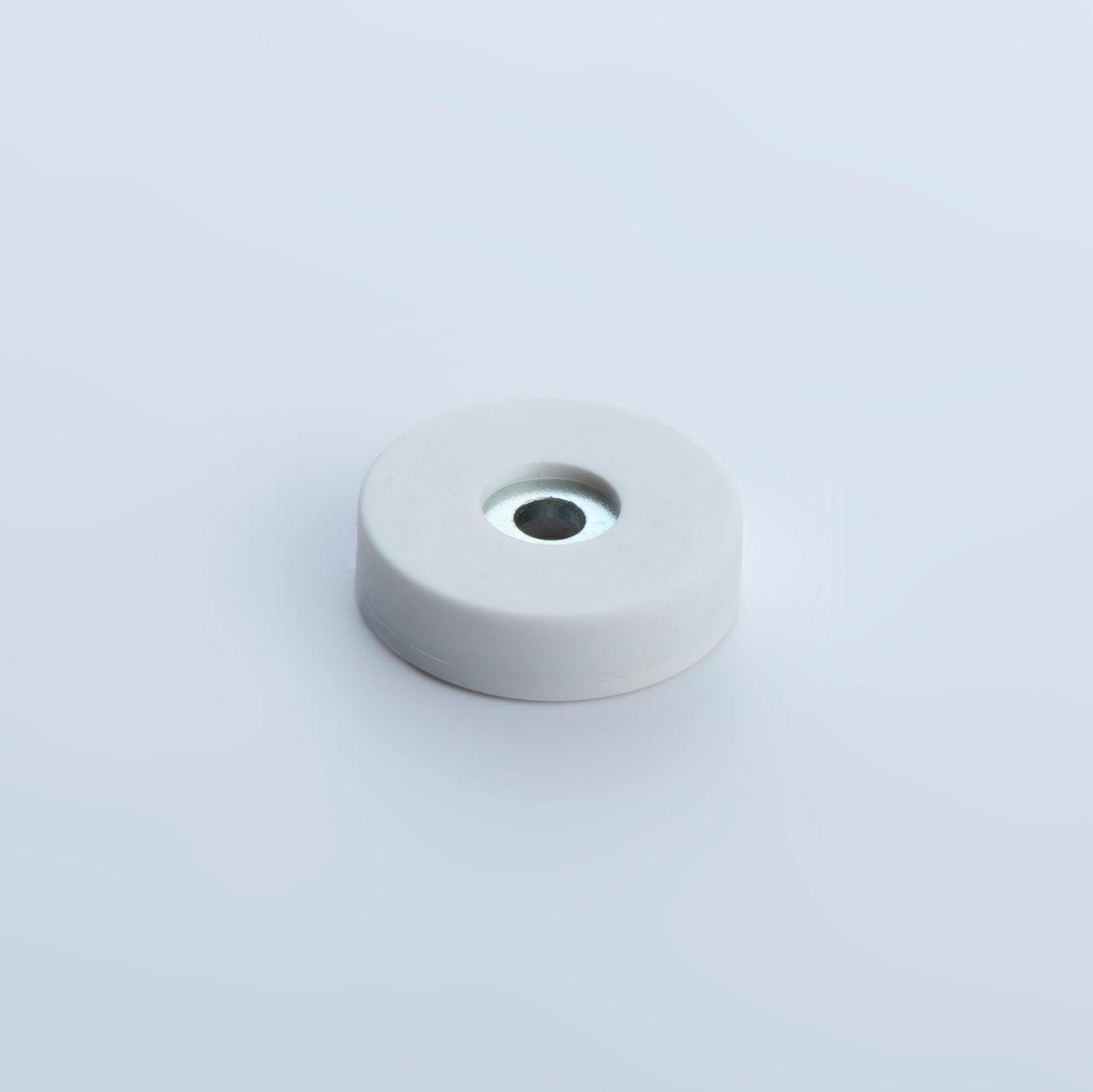 Flachgreifer aus Neodym mit Zylinderbohrung, weiß gummiert, thyssenkrupp Magnettechnik