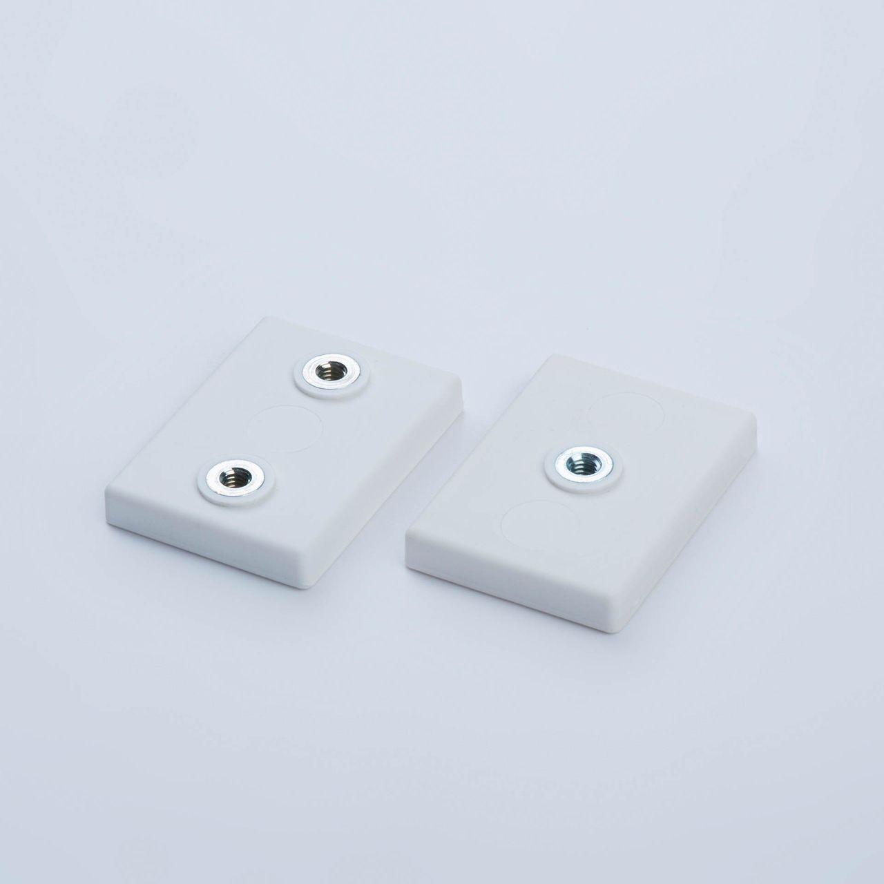 Flachgreifer aus Neodym mit Innengewinde, rechteckig, weiß gummiert, thyssenkrupp Magnettechnik