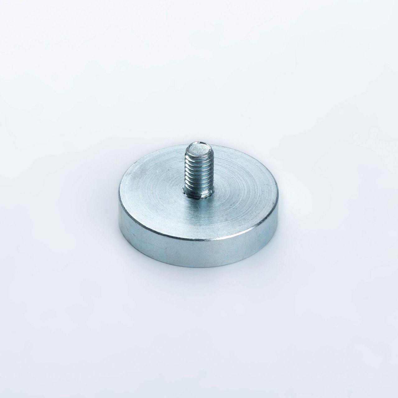 Pot magnet made of Neodym with external thread, galvanized, thyssenkrupp Magnettechnik