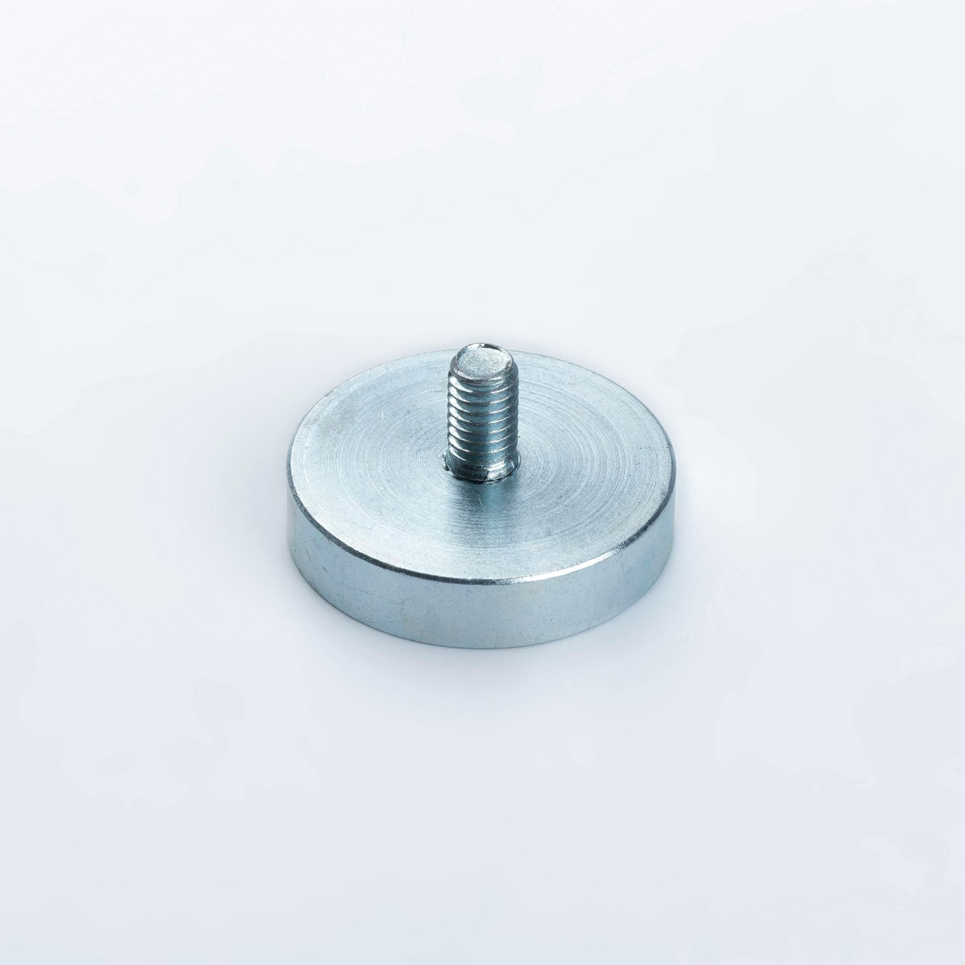 Flachgreifer aus Neodym, mit Außengewinde, verzinkt, thyssenkrupp Magnettechnik