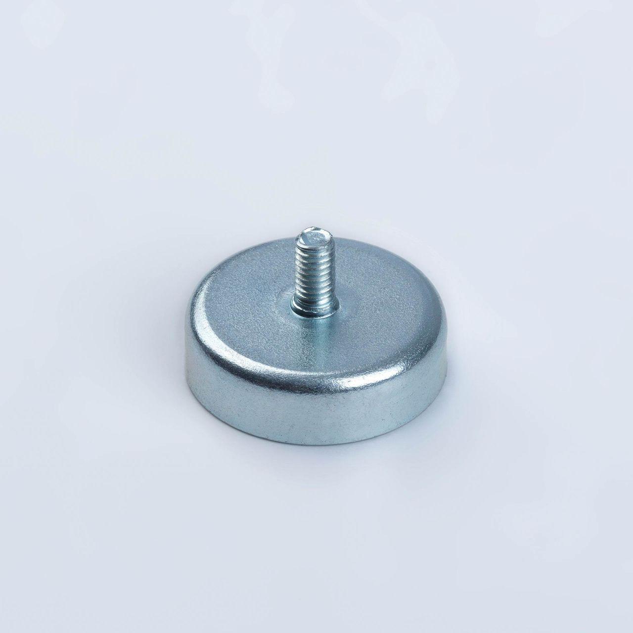 Pot magnet made of hard ferrite with external thread, galvanized, thyssenkrupp Magnettechnik